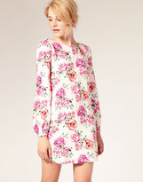 ASOS Printed Shift Dress with Bell Sleeve