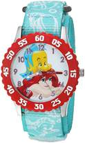 Disney Girl's 'Ariel' Quartz Stainless Steel and Nylon Casual Watch, Color: (Model: WDS000051)