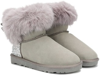 MonnaLisa TEEN fur-trimmed ankle boots
