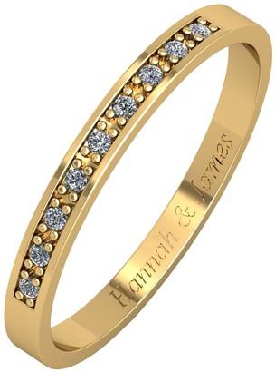 Love Diamond Personalised 9ct Gold 5 Point Diamond 2.5mm Wedding Band