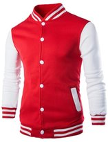 EUROUS Men's Fashion Lightweight Overcoat Baseball jackets (S, )