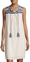 Neiman Marcus Embroidered-Yoke Shift Dress, Ivory