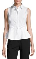 Alexander Wang Laced-Waist Peplum Sleeveless Blouse, Bleach