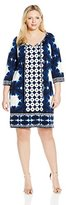 London Times Women's Plus-Size Border Print Tunic Jersey Shift with Front Tie