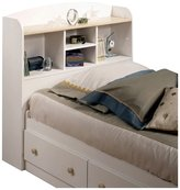 Green Baby South Shore Summer Time Collection Twin (39'') Bookcase Headboard - Pure White and Natural Maple