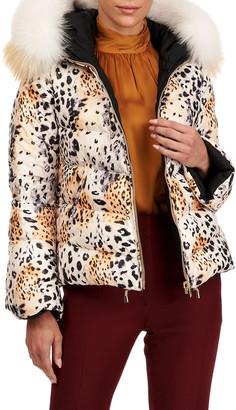 Gorski Reversible Quilted Puffer Jacket W/ Detachable Fox Fur Hood Trim