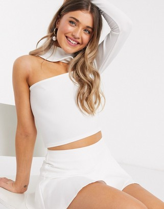In The Style x Saffron Barker asymmetric one shoulder crop top in white