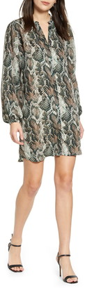 Cupcakes And Cashmere Clara Long Sleeve Snake Print Dress