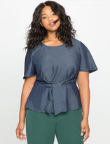 ELOQUII Plus Size Flare Sleeve Tie Front Chambray Top