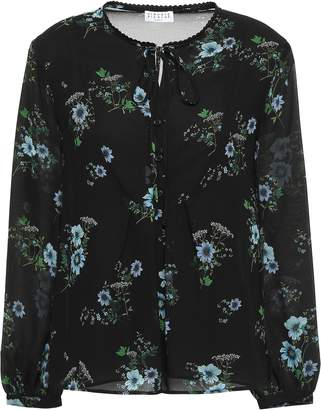 Claudie Pierlot Beflower Embroidered Printed Georgette Blouse