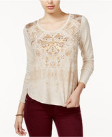 Miss Me Embellished Printed Top
