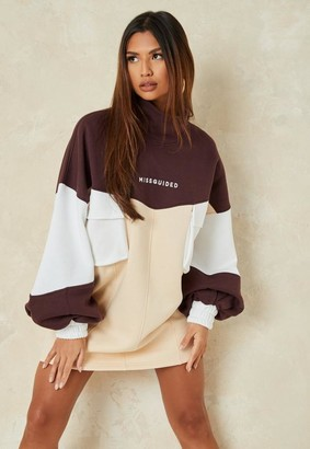 Missguided Tall Brown Colorblock High Neck Sweater Dress
