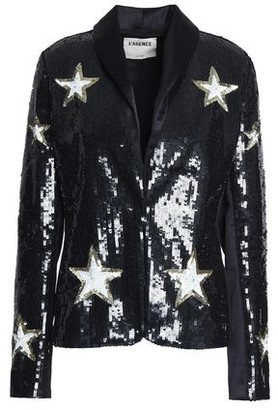 L'Agence Satin-trimmed Sequined Woven Blazer