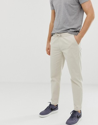 D Struct D-Struct elastic waist cropped chino trousers-Stone