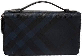 Burberry Navy Blue Coated Canvas Reeves Double Zip Wallet
