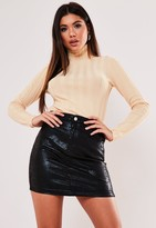 Missguided Black Cracked Coated Denim Mini Skirt