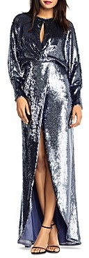 Aidan Mattox Long-Sleeve Draped Sequin Gown