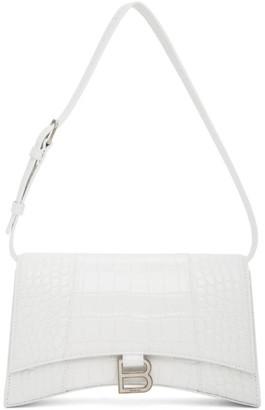 Balenciaga White Croc Hourglass Sling Bag