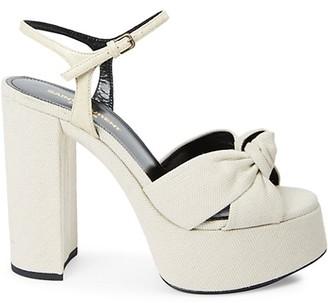 Saint Laurent Bianca Knotted Canvas Platform Sandals