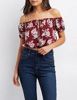Charlotte Russe Floral Off-The-Shoulder Crop Top