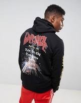 Criminal Damage Hoodie In Black With Rock Back Print
