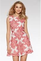 Quiz White And Red Crochet Paisley Print Skater Dress