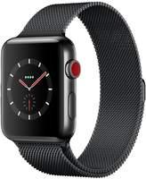 Apple Watch Series 3 (GPS + Cellular), 42mm Space Black Stainless Steel Case With Space Black Milanese Loop