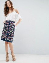 Needle & Thread Needle and Thread Wild Flower Embroidered Denim Midi Skirt