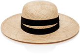 Janessa Leone Leather-Trimmed Straw Hat