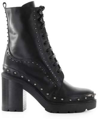 Pinko Carezza Black Leather Heeled Combat Boot