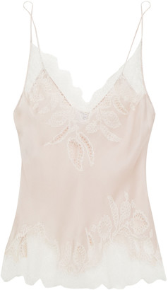 Carine Gilson Cutout Lace And Silk Crepe De Chine Camisole