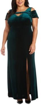 Night Way Nightway Petite Stretch-Velvet Cold-Shoulder Gown