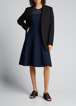 Akris Punto Dotted Lace Yoke Sleeveless A-Line Dress