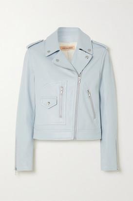 Yves Salomon Leather Biker Jacket - Light blue