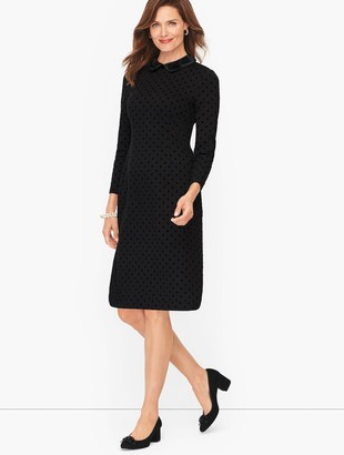 Talbots Ponte Flock Dot Shift Dress