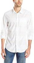 Calvin Klein Jeans Men's Wave Plaid Long Sleeve Button Down Shirt, White