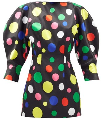 Elzinga - Balloon-sleeve Polka-dot Satin Mini Dress - Black Multi