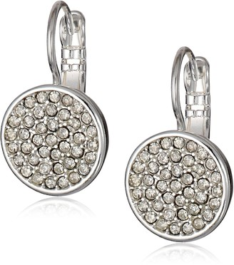 Anne Klein Silver Tone and Crystal Pave Drop Earrings