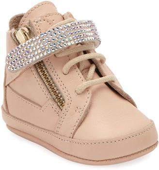 Giuseppe Zanotti Birel Crystal-Strap High-Top Sneakers, Pink, 0-9 Months