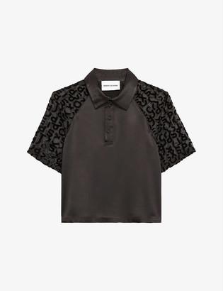 The Kooples Sport Mesh-sleeve satin polo shirt