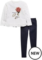 Very Floral Trim Top And Legging Set