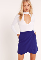 Missguided Asymmetric Wrap Hem Mini Skirt Cobalt Blue