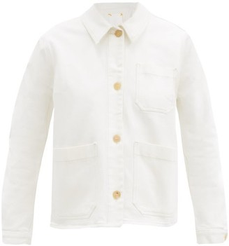 Ssōne Ssone - Craft Organic Cotton-blend Denim Jacket - Womens - Ivory