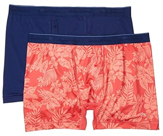 Tommy Bahama Mesh Tech Boxer Briefs 2-Pack (Solid Navy/Coral Leaves) Men's Underwear
