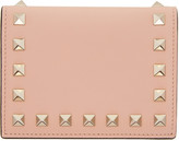 Valentino Pink Small Rockstud French Flap Wallet