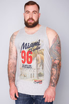 "Yours Clothing D555 Grey ""Miami Florida 96"" Vest"