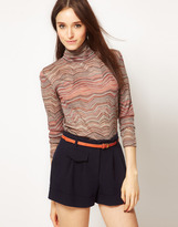 Surface to Air Roll Neck Top In Space Dye Jersey