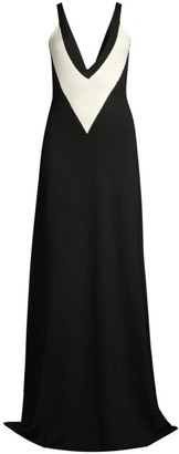 Victor Glemaud V-Neck Colorblock Wool Maxi Dress