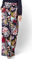 New York & Co. 7th Avenue Pant - Pull-On Palazzo Pant - Navy - Floral