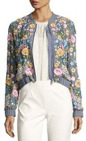 Needle & Thread Embroidered Foliage Bomber Jacket, Blue